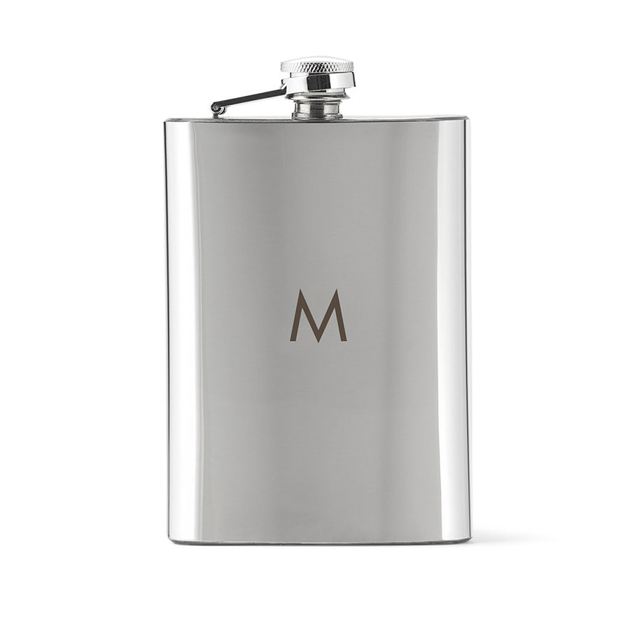 stainless steel flask monogrammed with M