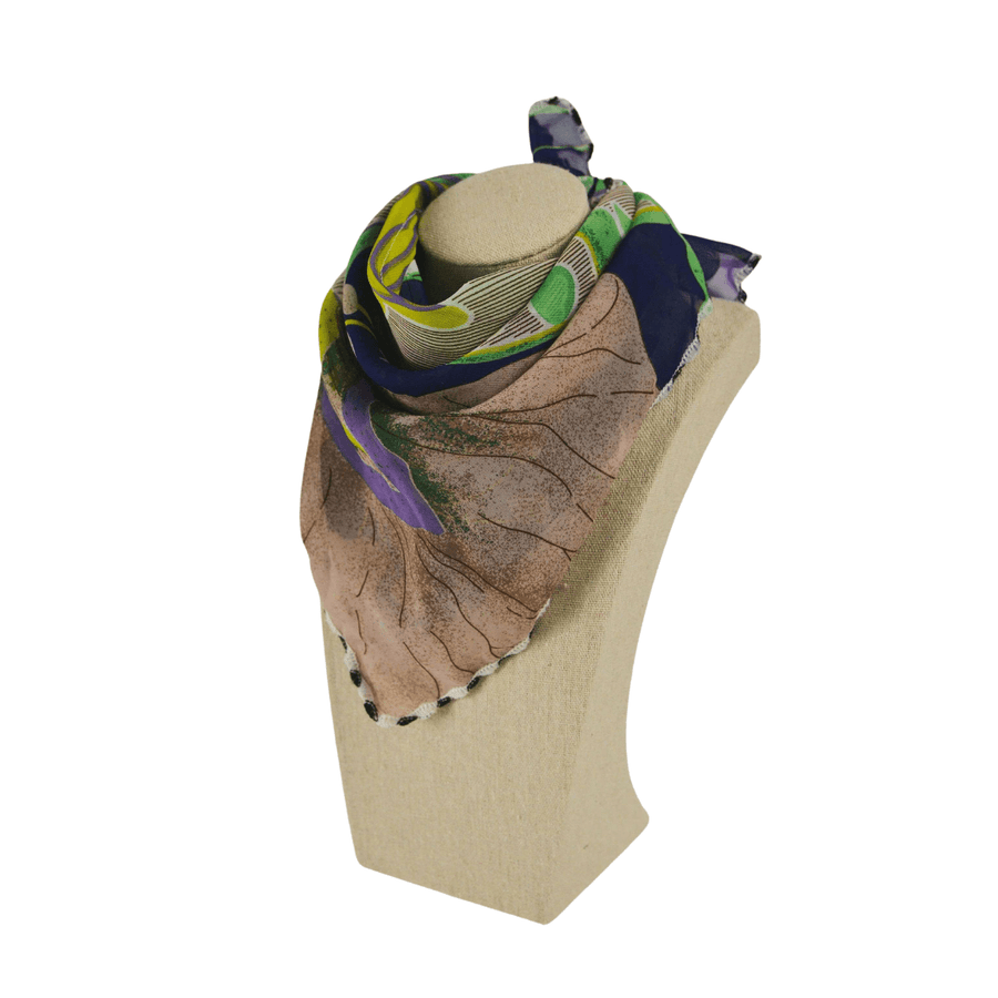 fashion scarf in navy, green, and brown floral print