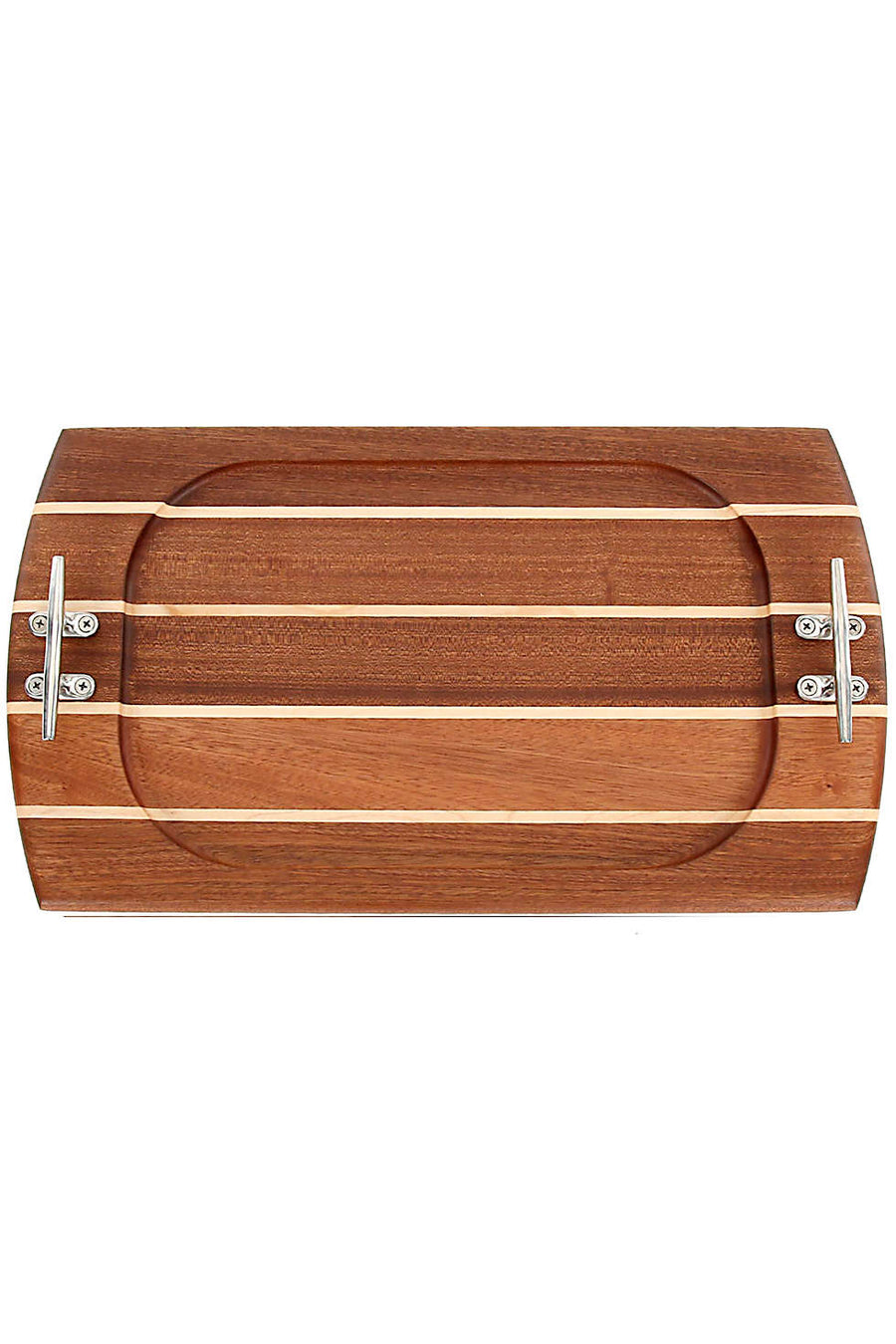 Nautical Rectangle Sapele serving board with accents of Maple. Made in USA. Stainless steel cleat handles.