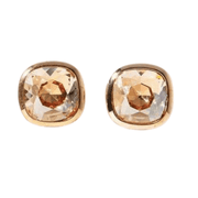 Champagne colored jewel gold stud earrings with surgical steel posts