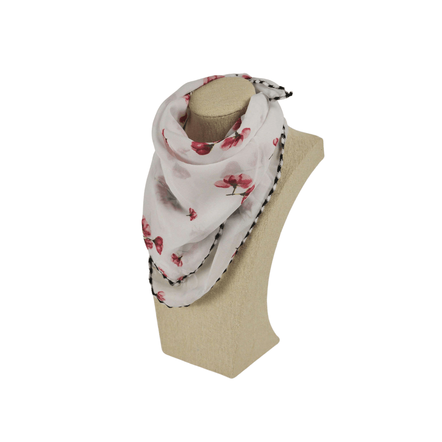 pink flowers on white fashion scarf