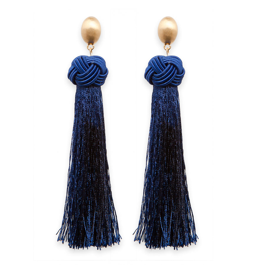 Navy threaded tassle earrings with equestrian knots and gold posts