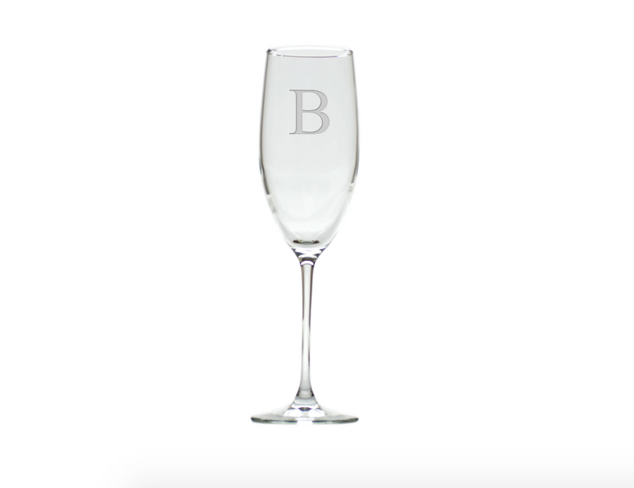 champagne flute monogrammed with b