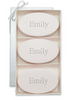 three oval soaps in a luxurious container monogrammed with Emily