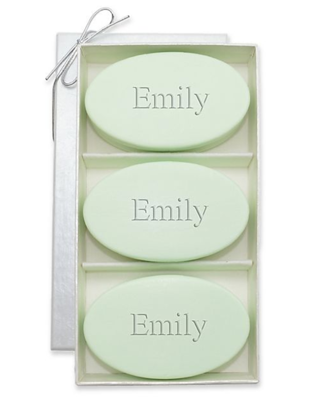 three oval soaps in a luxurious container monogrammed with Emily in green