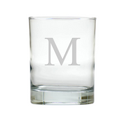 glass old fashioned glass monogrammed with M
