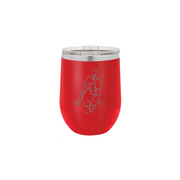 A red wine tumbler that can hold hot or cold beverages. A horse and rider logo is carved onto the tumbler.