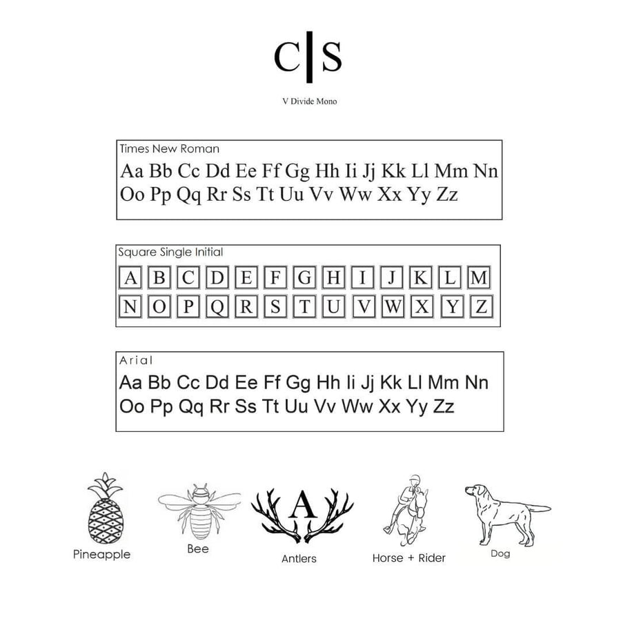 A potential list of monograms for champagne flutes. It incldes a Divide monogram, Times New Roman, Square Single Initial, and Arial. The logos available include a pineapple, bee, antlers, horse + rider, and a dog.