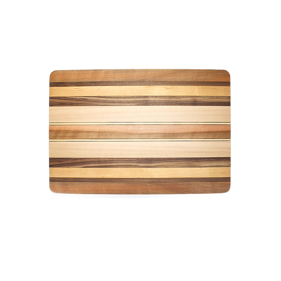 large cutting board made with strips of Beech, Birch, Cheery, Madrone, Myrtle, and Walnut