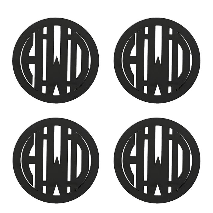set of four (4) acrylic coasters in black monogrammed with