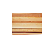 Personalized carved monogrammed yellow birch walnut accented countertop cutting board