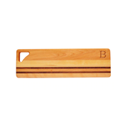 Personalized carved monogrammed yellow birch walnut accented long cutting board