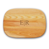 medium cutting board made of yellow birch and new england ash. monogrammed with divided ER