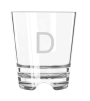 "An acrylic old fashioned glass. The letter ""D"" is monogrammed onto the glass in arial."