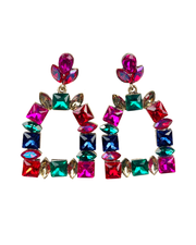Multi-colored gem stirrup earrings- red,pink, green, blue. Statement post earrings