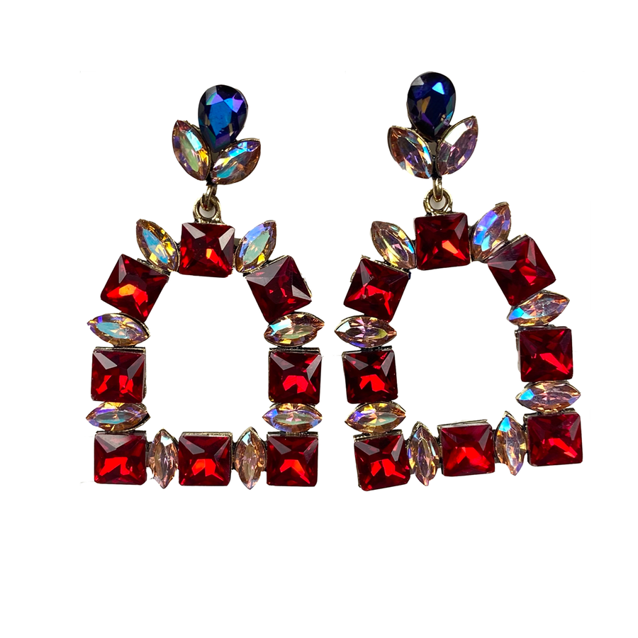 Red, Iridescent, and blue gems on a stirrup shaped set of earrings. Equestrian flair. Statement post earrings