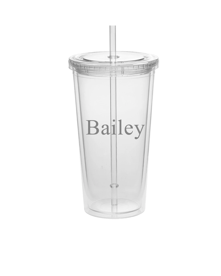 clear double walled insulated acrylic tumbler with bailey monogrammed