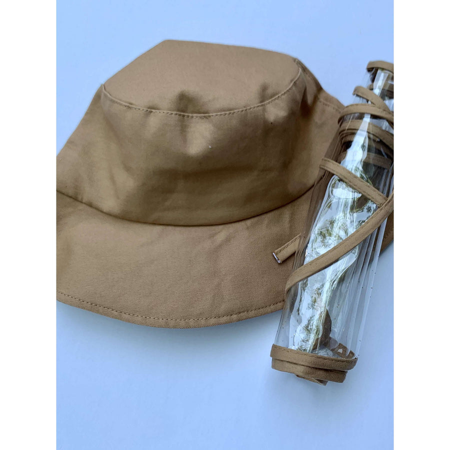 cafe bucket hat with face shield