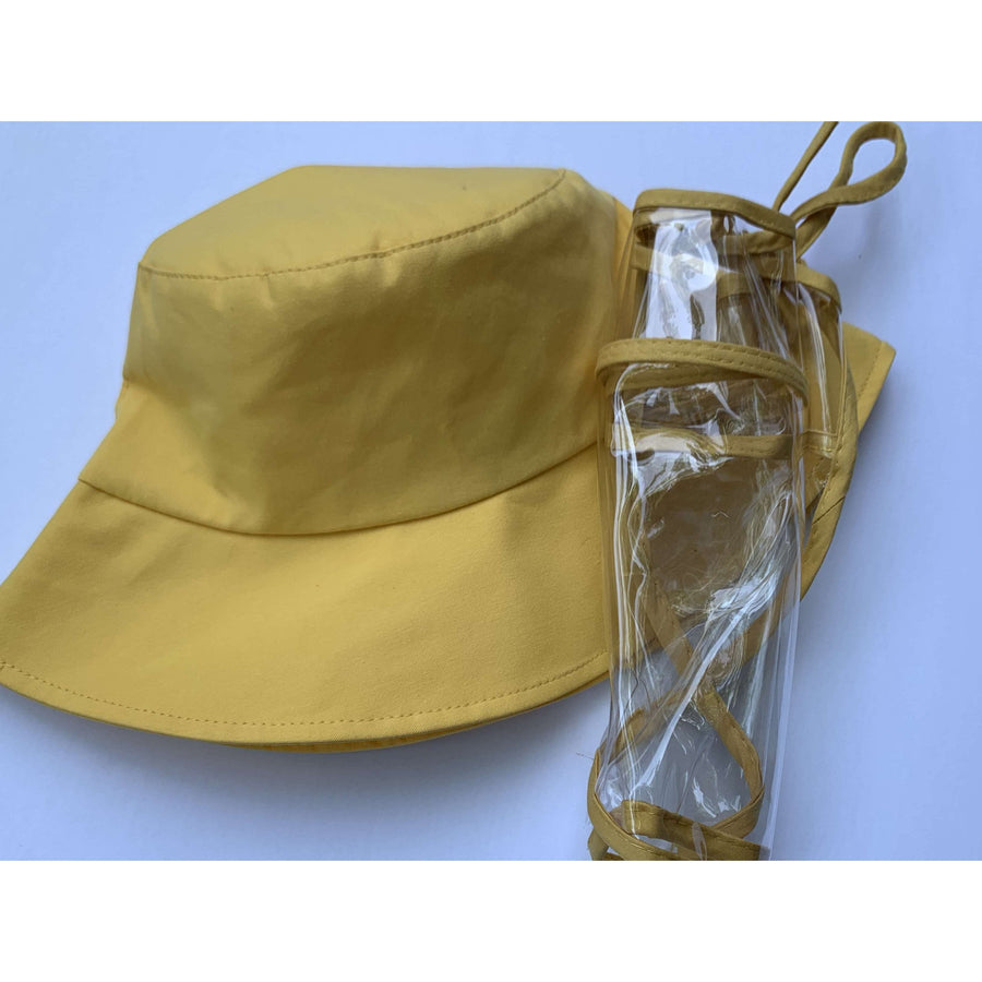 Yellow cotton bucket hat with anti-fog plastic face shield
