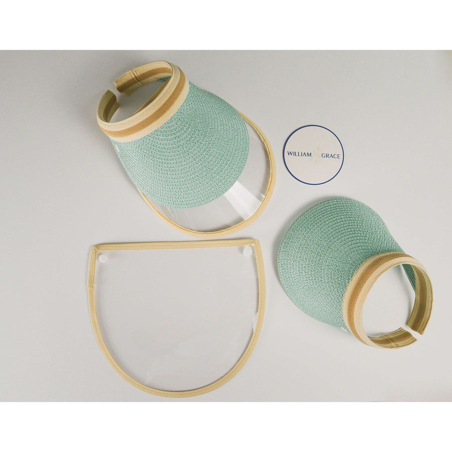 Mint, Tan straw brimmed visor with anti-fog face shield