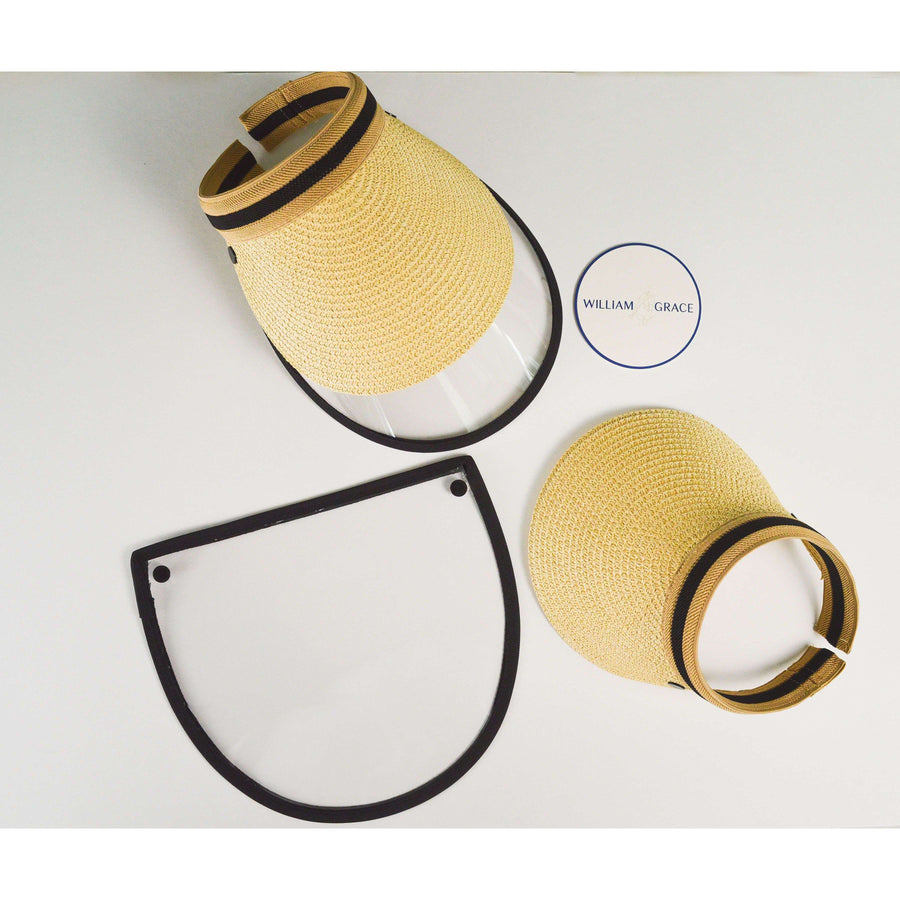 Tan, black straw brimmed visor with anti-fog face shield