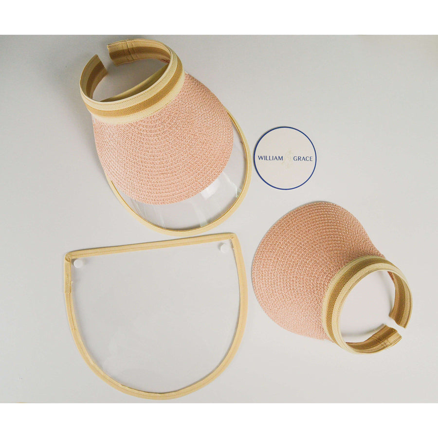 Pink, tan straw brimmed visor with anti-fog face shield