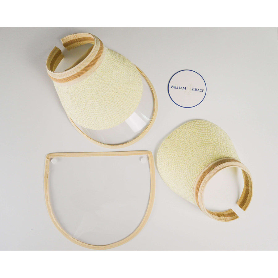 Cream, tan straw brimmed visor with anti-fog face shield