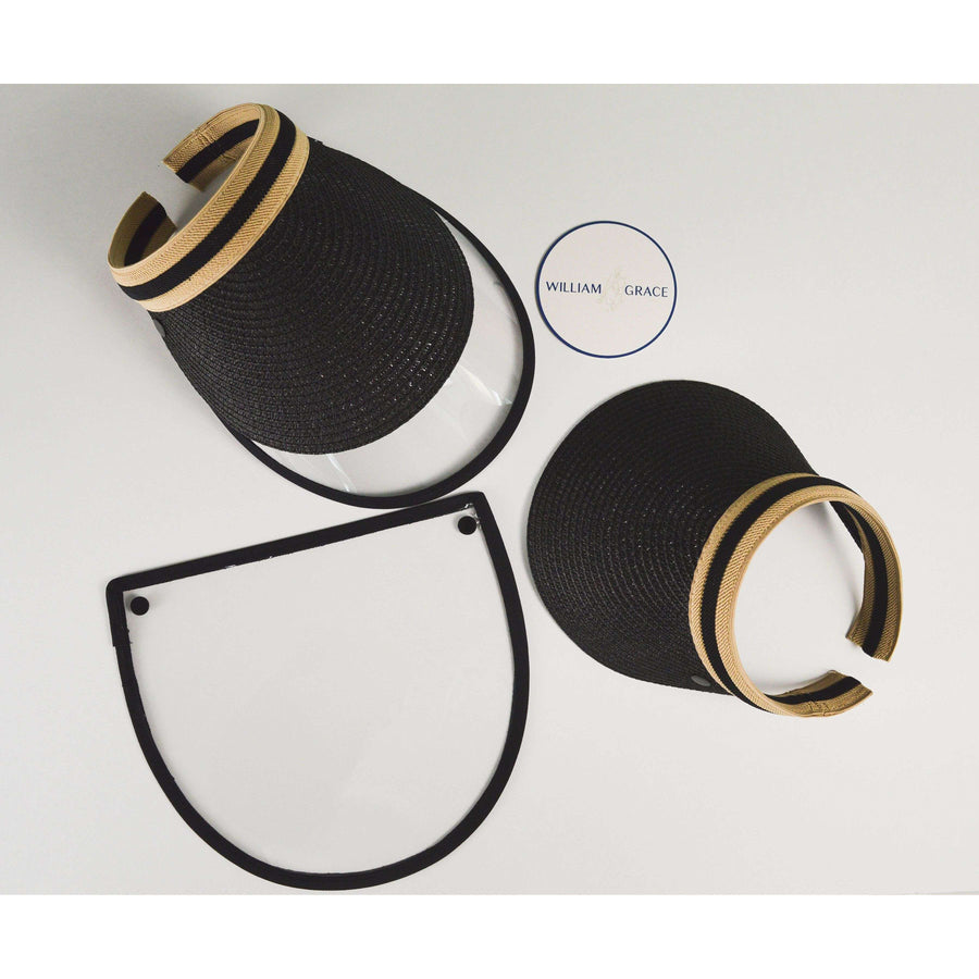 Black, tan straw brimmed visor with anti-fog face shield