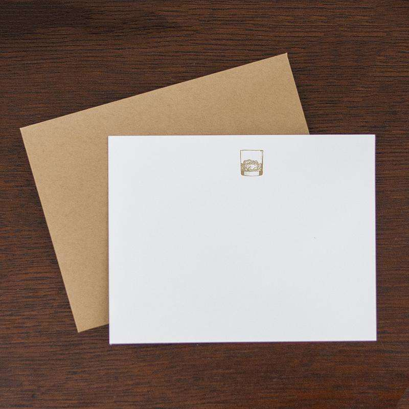 Note cards with gold whiskey glass printed on them