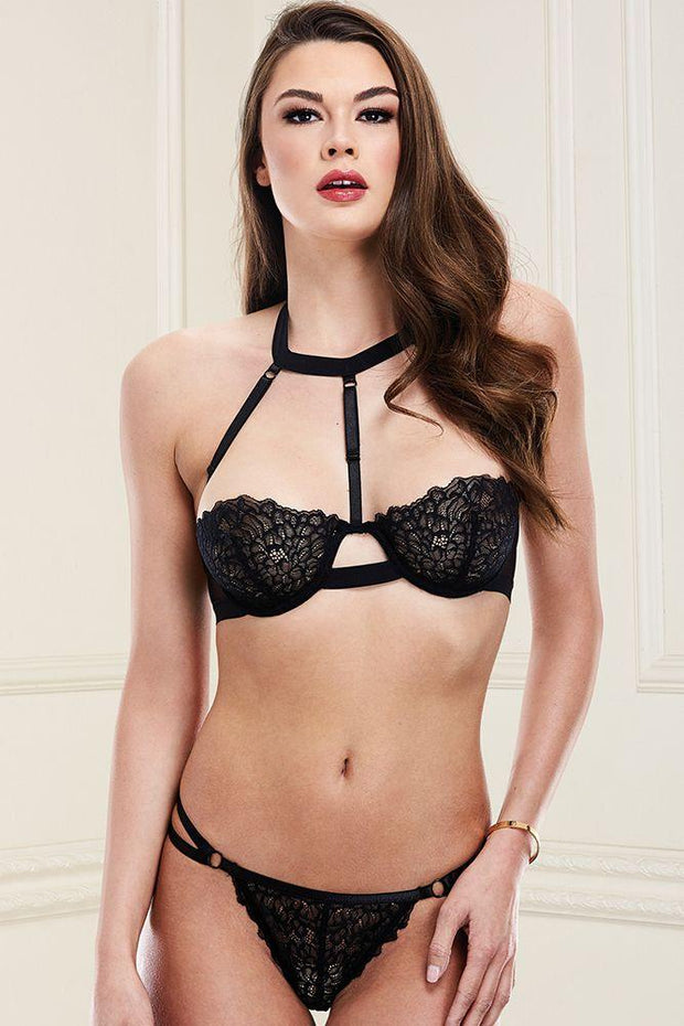 2pc Black Bra & Strappy Set S/M