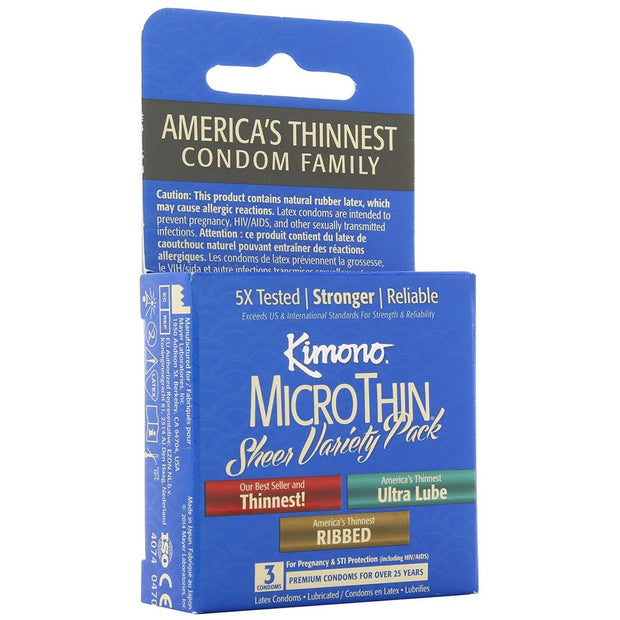Kimono MicroThin Variety Pack Condoms 3 Pack