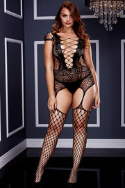Corset Front Suspender Fishnet Bodystocking in OSXL