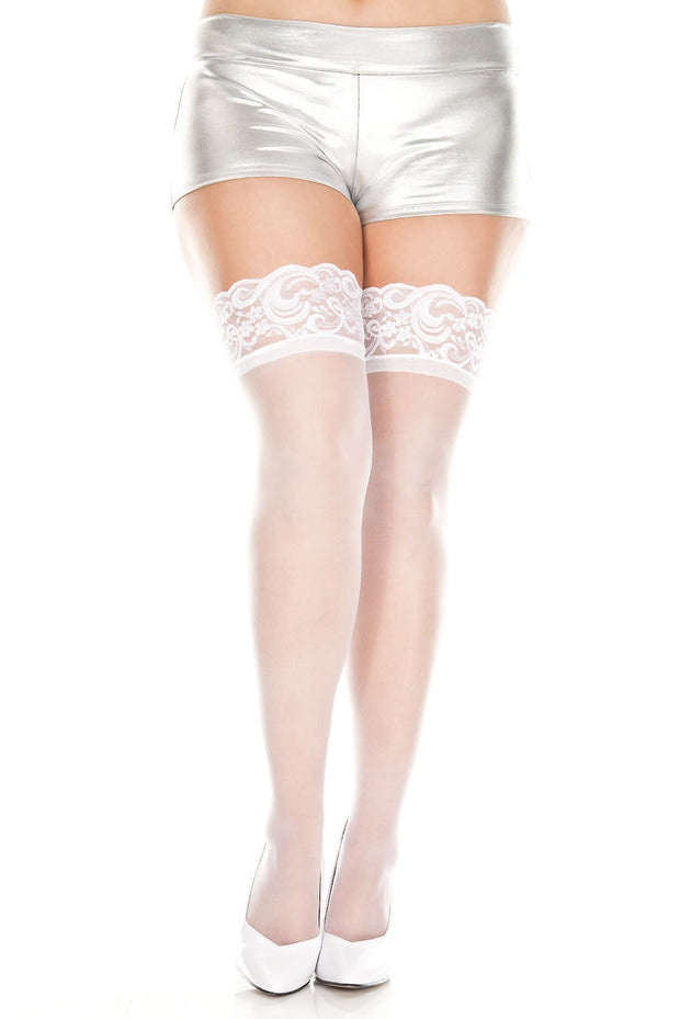 Lace Top Sheer Thigh High White OSXL