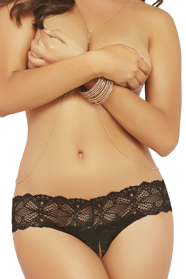Black Crocheted Lace Split Crotch Thong in OS