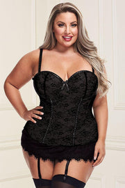 Black Lace Overlay Bustier and G-String 1X2X