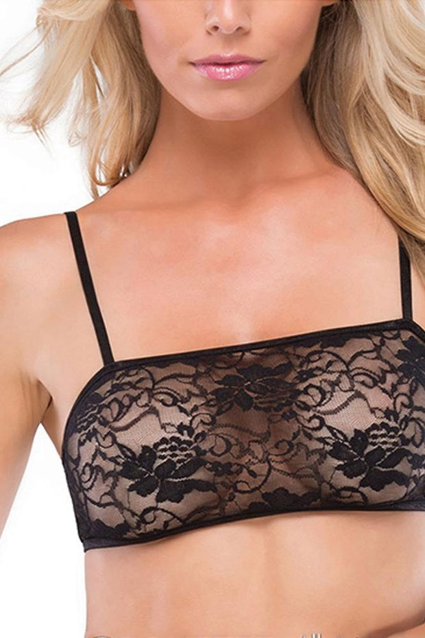 Black Floral Lace Bralette in OS