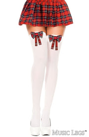 Thigh High School Girl White w/ Red Bow