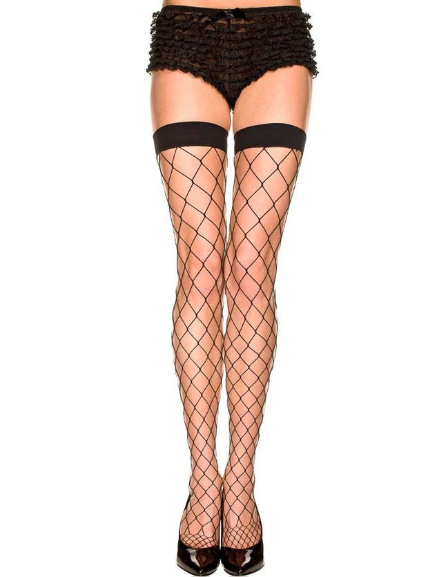 Diamond Net Spandex Thigh High Black OS