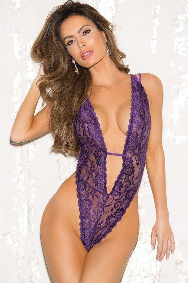 "Stretch Lace Deep ""V"" Plunge Teddy in OS"