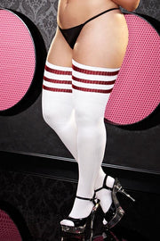 White and Red Stripe Rib Knit Thigh High Socks in OSXL