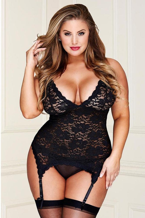 Black Floral Lace Bustier with G-String in OSXL