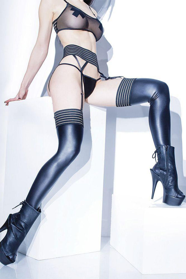 Forever Matte Wetlook Striped Thigh Highs in OS