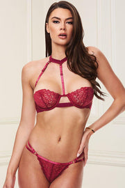2pc Red Bra & Strappy G-String Set S/M