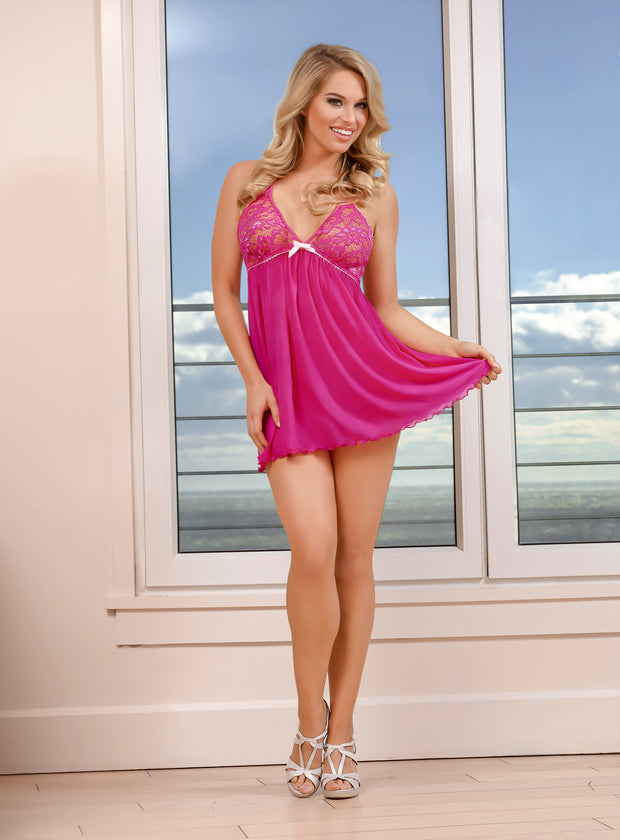 Peekabow Baby Doll & Thong Set in L/XL