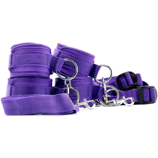 Electric Eel Lux Fetish 7 Piece Bed Spreader Restraint System Bondage Accessory Purple