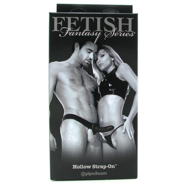 Fetish Fantasy Hollow Strap-On Pipedream Black Unisex Male Extender Female No Balls in Package Front of Box