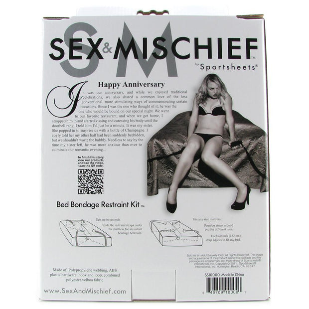 Sex & Mischief Bed Bondage Restraint Kit Black Straps Ankle Wrist Hand Tie package back of box