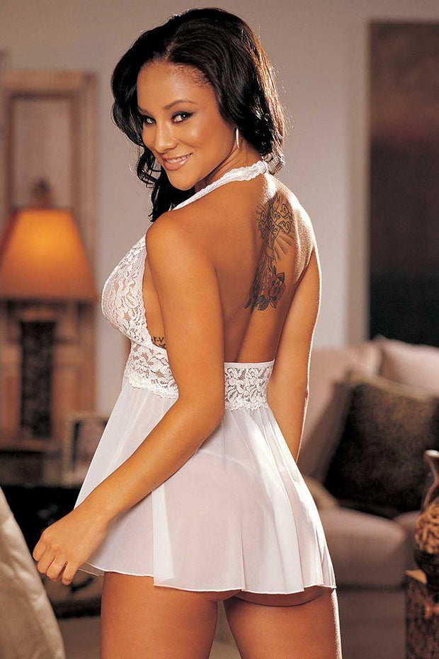 Stretch Mesh and Lace Babydoll with Bow Pink White Sheer Dress Shirley of Hollywood Back