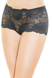 Classic Black Lace High Waisted Panty in OS
