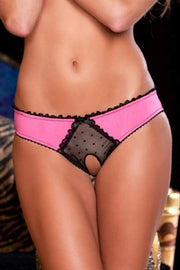 Frills Crotchless Panty with Back Bows Pink in S/M